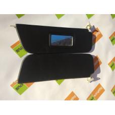 Козырьки солнцезащитные 2106к-т 2 шт, жесткие с зеркалом,цвет черный
